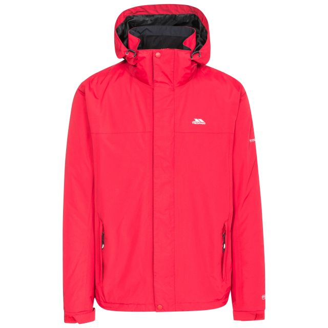 Donelly Men's Waterproof Jacket in Red, Front view on mannequin