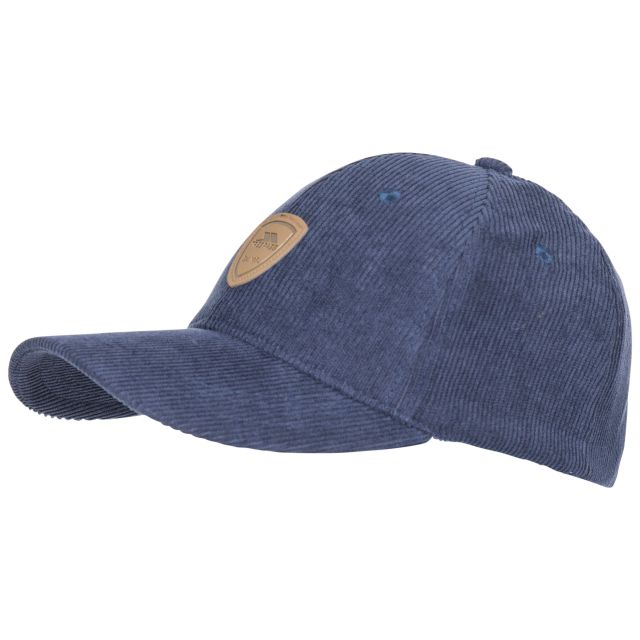 Trespass Adults Baseball Cap Corduroy Unisex Dovetail Blue, Hat at angled view