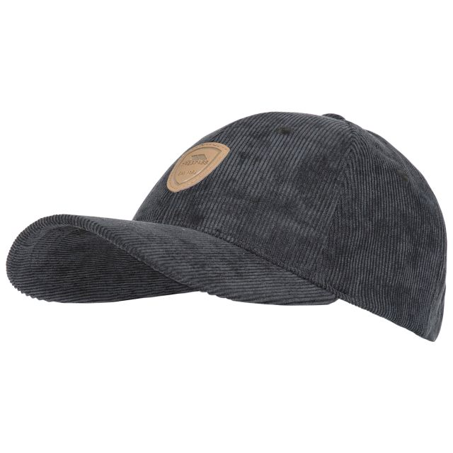 Trespass Adults Baseball Cap Corduroy Unisex Dovetail Black, Hat at angled view