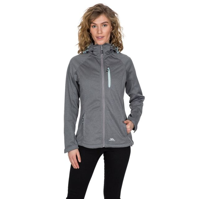 Trespass Womens Softshell Jacket with Hood Drea in Grey