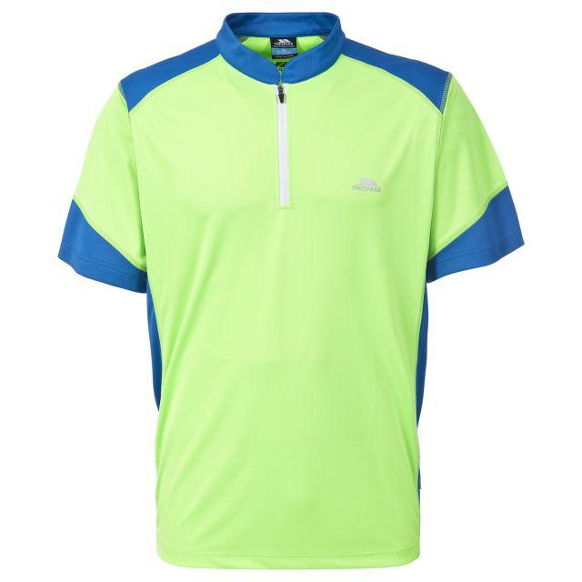 Dudley Men's 1/2 Zip Active T-shirt in Neon Green, Front view on mannequin