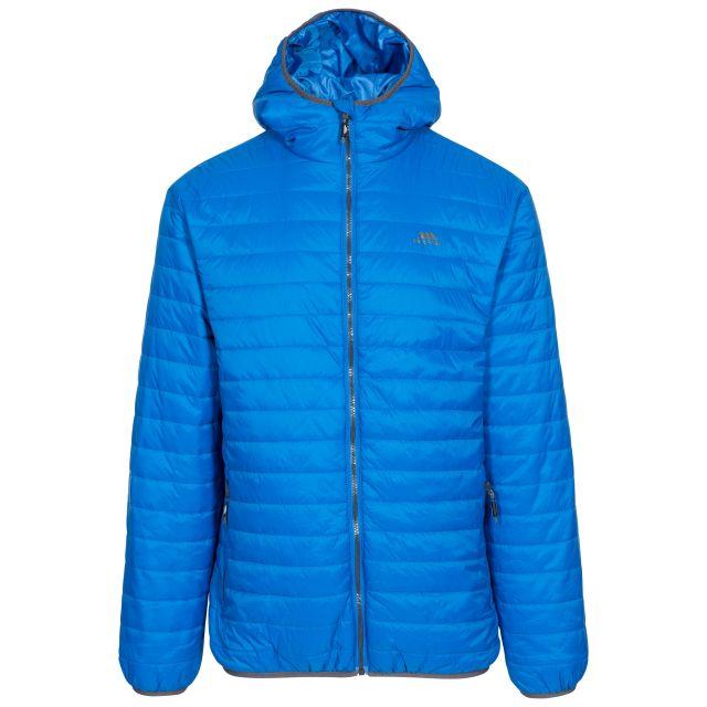 Dunbar Men's Hooded Lightweight Jacket in Blue, Front view on mannequin