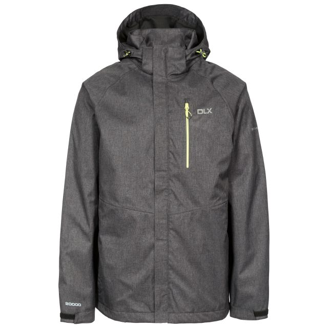Dupree Men's DLX Waterproof Jacket in Black, Front view on mannequin