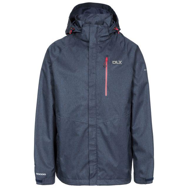 Dupree Men's DLX Waterproof Jacket in Navy, Front view on mannequin