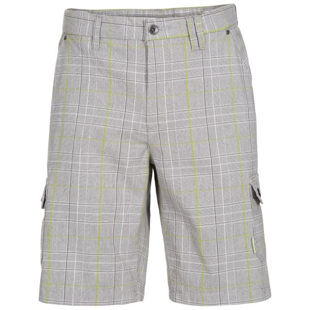 Earwig Men's Checked Cargo Shorts in Beige, Front view on mannequin