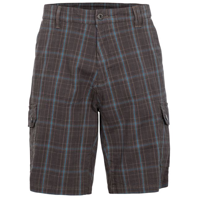 Earwig Men's Checked Cargo Shorts in Grey, Front view on mannequin