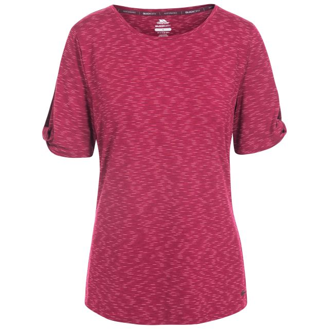 Eden Women's Quick Dry T-Shirt in Red, Front view on mannequin