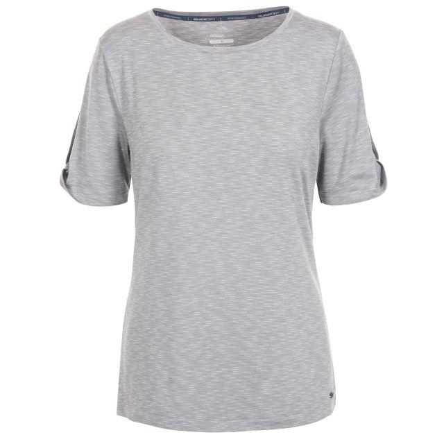 Eden Women's Quick Dry T-Shirt in Light Grey, Front view on mannequin