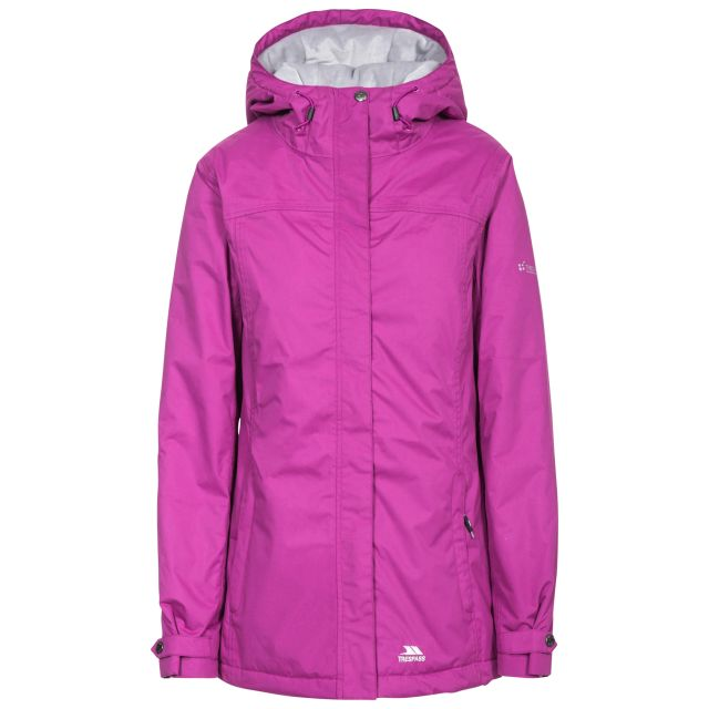 Trespass Womens Waterproof Jacket Padded Edna Orchid, Front view on mannequin