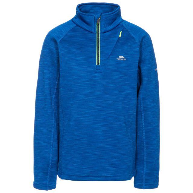 Edvin Kids' Half Zip Fleece in Blue, Front view on mannequin