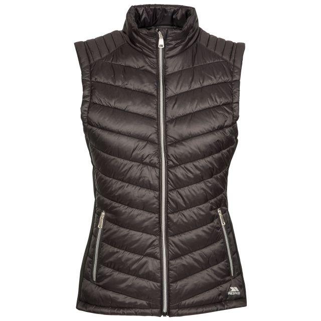 Elanora Women's Padded Gilet in Black, Front view on mannequin