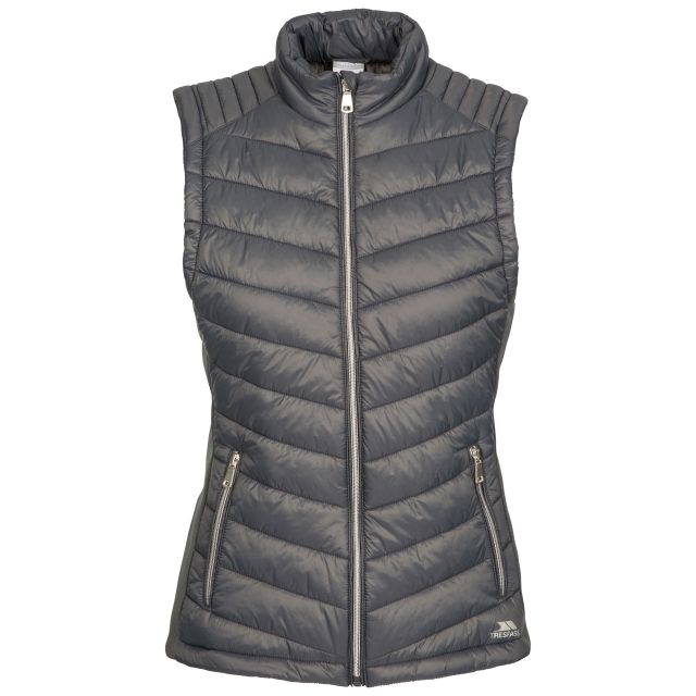 Elanora Women's Padded Gilet in Grey, Front view on mannequin
