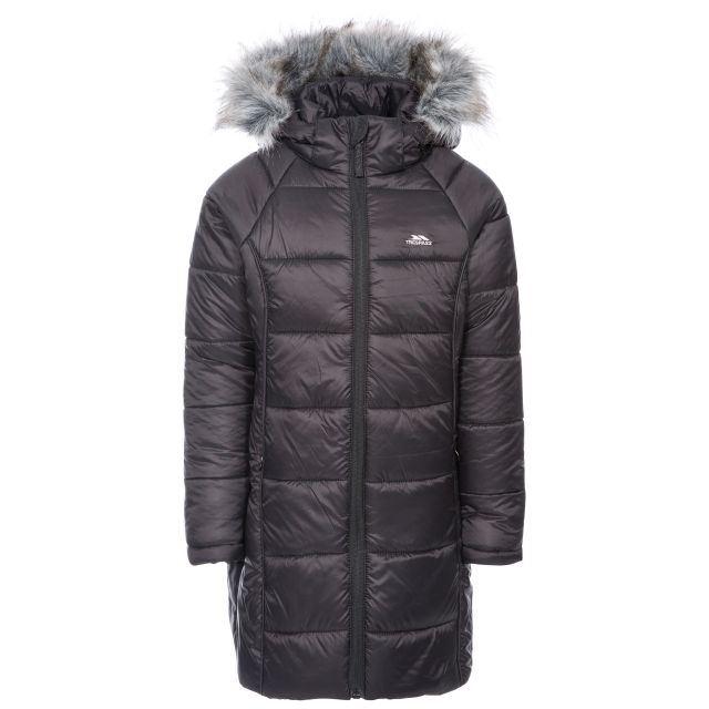 Elimore Kids' Padded Casual Jacket in Black, Front view on mannequin