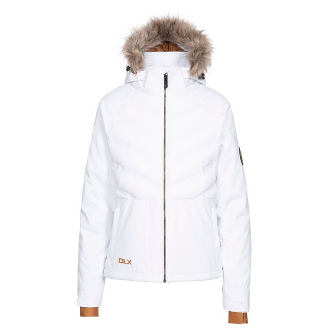 DLX Womens Ski Jacket with RECCO Elisabeth in White, Front view on mannequin