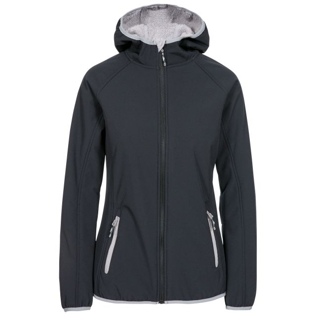 Trespass Womens Softshell with Hood Emery in Black, Front view on mannequin