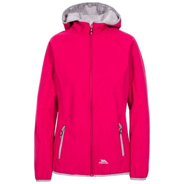 Trespass Womens Softshell with Hood Emery in Pink, Front view on mannequin