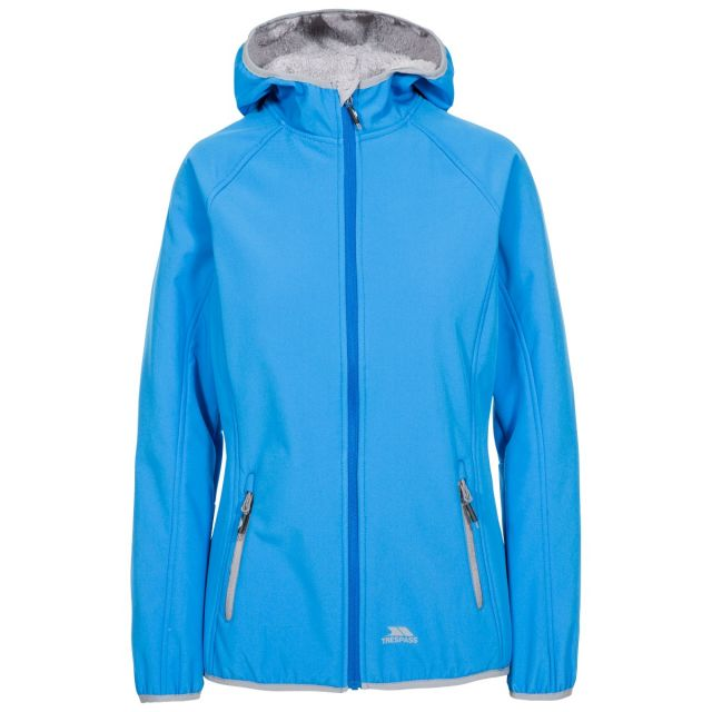 Trespass Womens Softshell with Hood Emery in Blue, Front view on mannequin