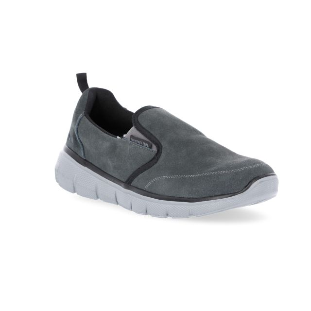 Enrico Men's Slip On Trainers in Grey, Angled view of footwear