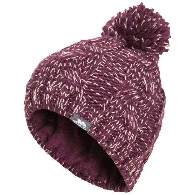 Epstein Kids' Bobble Hat in Purple, Hat at angled view