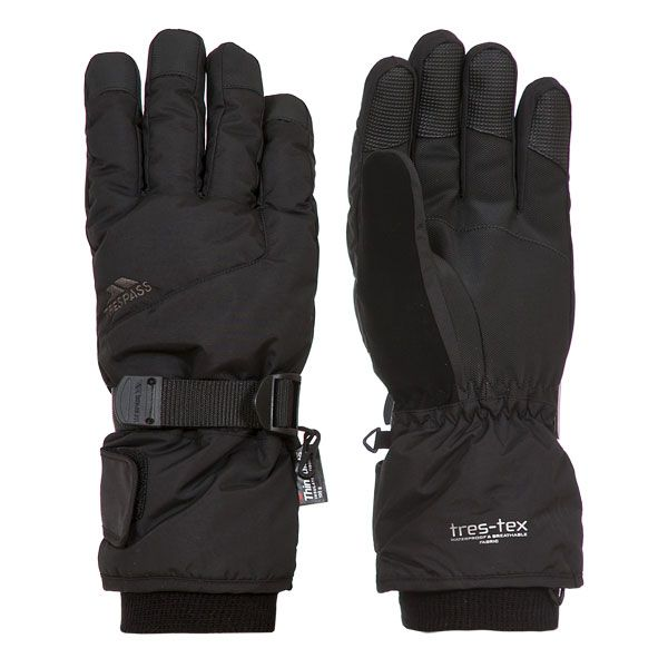 Trespass II Adults Ski Gloves in Black Ergon