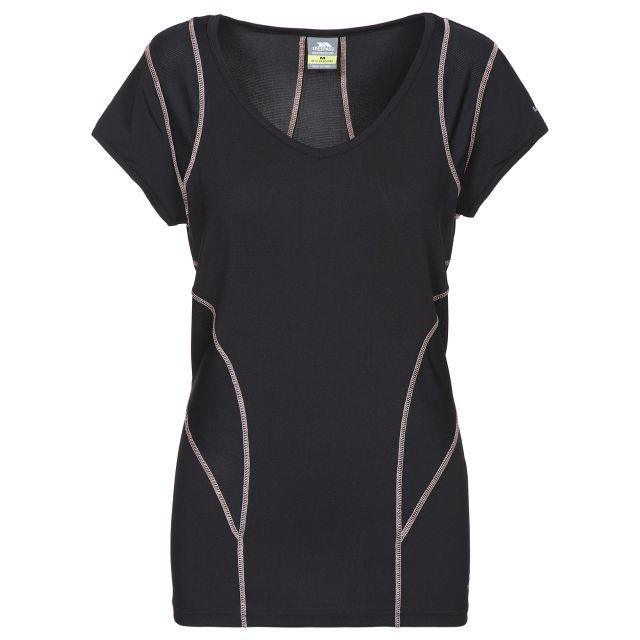 Erlin Women's V-Neck Active T-shirt in Black, Front view on mannequin