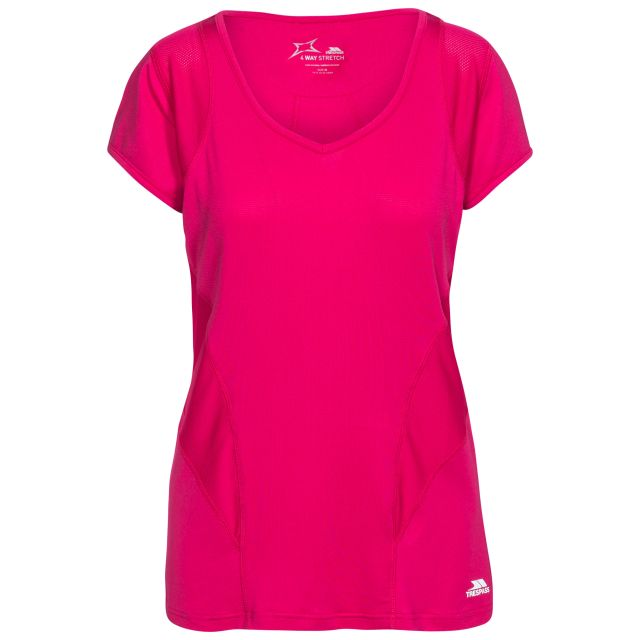 Erlin Women's V-Neck Active T-shirt in Pink, Front view on mannequin