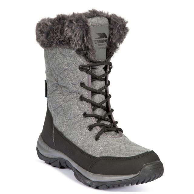 Esmae Women's Fleece Lined Snow Boots in Grey, Angled view of footwear