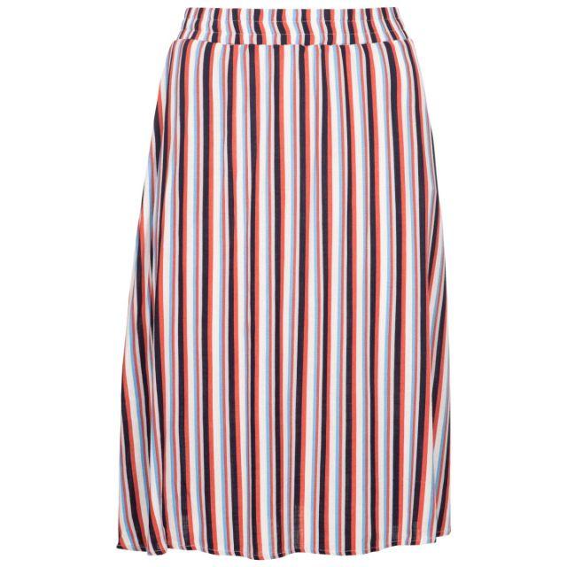 Trespass Women's Flared Stripe Skirt Essence Blue Stripe, Front view on mannequin