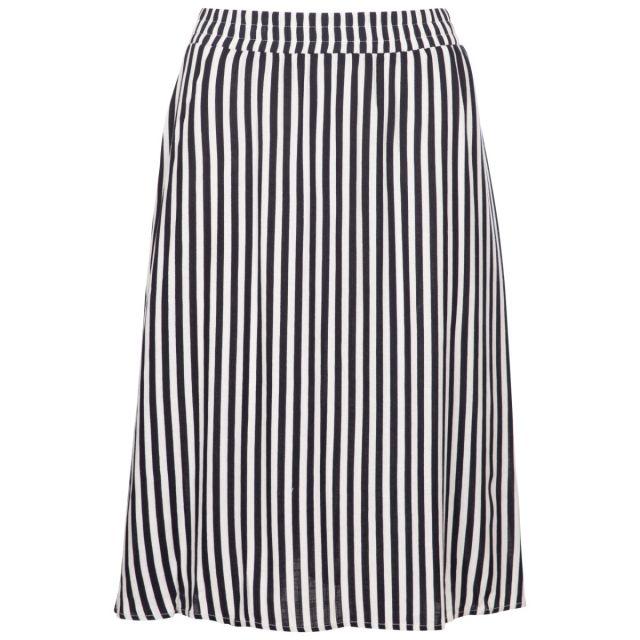 Trespass Women's Flared Stripe Skirt Essence Navy Stripe, Front view on mannequin
