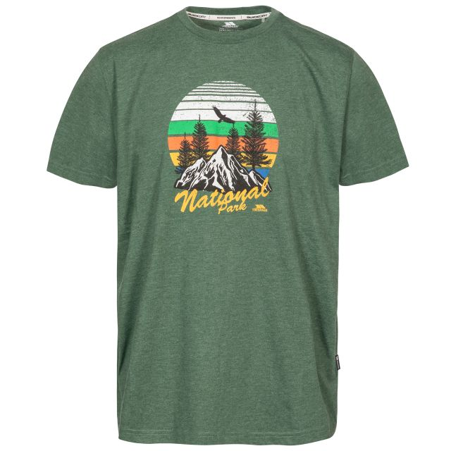 Estate Men's Printed Casual T-Shirt in Green, Front view on mannequin