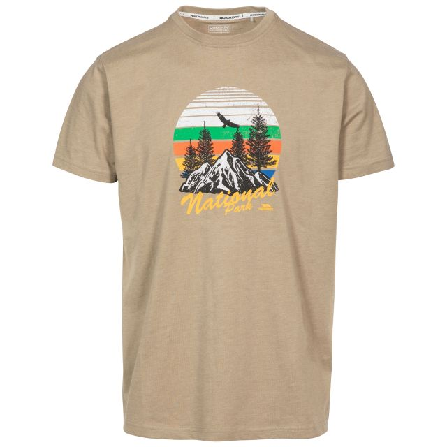 Estate Men's Printed Casual T-Shirt in Beige, Front view on mannequin