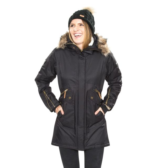 Trespass Womens Waterproof Parka Jacket Eternally Black