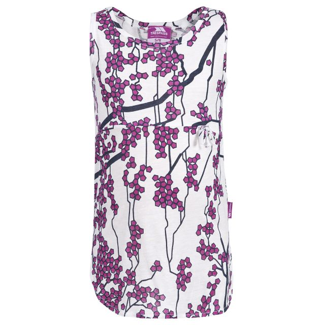 Trespass Girls Floral Vest Top in White Eula
