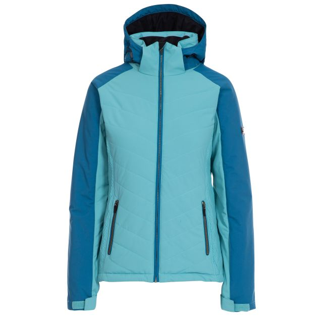 Trespass Womens Ski Jacket Waterproof Padded Eva Aquamarine, Front view on mannequin