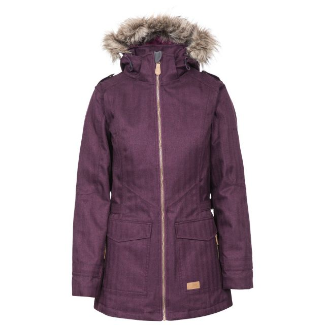 Everyday Women's Padded Waterproof Jacket in Purple, Front view on mannequin