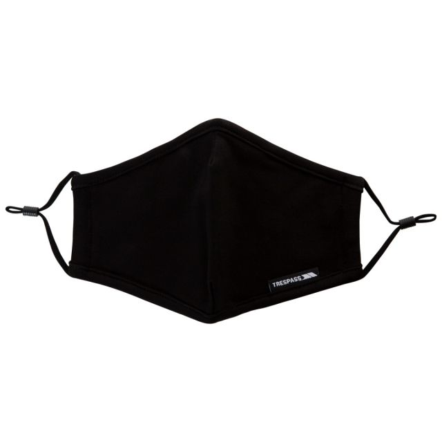 Adults Reusable Cotton Face Mask in Black, Tent detail