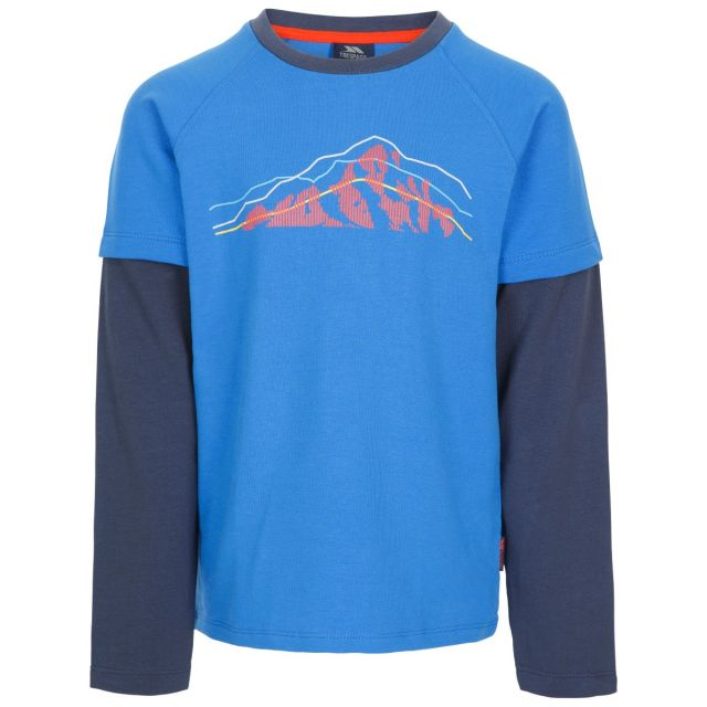 Trespass Kids T Shirt Long Sleeved Round Neck Factual Blue, Front view on mannequin