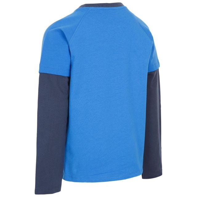 Trespass Kids T Shirt Long Sleeved Round Neck Factual Blue
