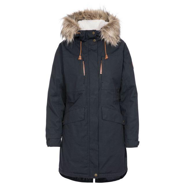 Faithful Women's Waterproof Parka Jacket in Grey, Front view on mannequin