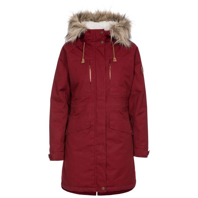 Faithful Women's Waterproof Parka Jacket in Red, Front view on mannequin