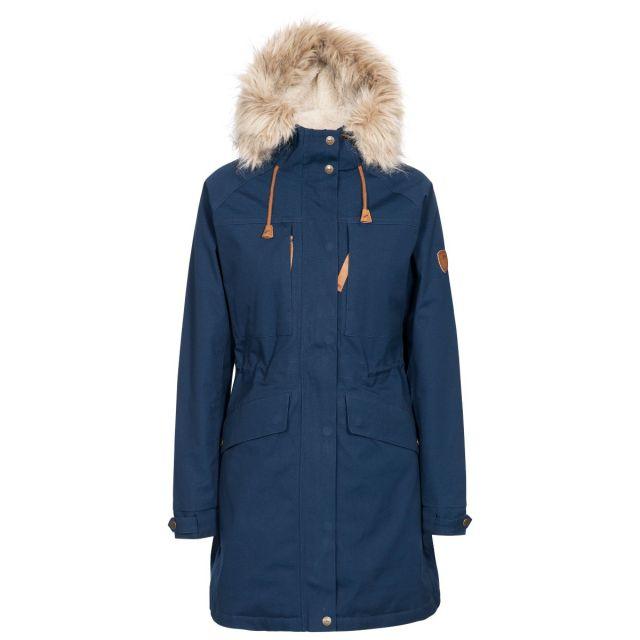 Faithful Women's Waterproof Parka Jacket in Navy, Front view on mannequin