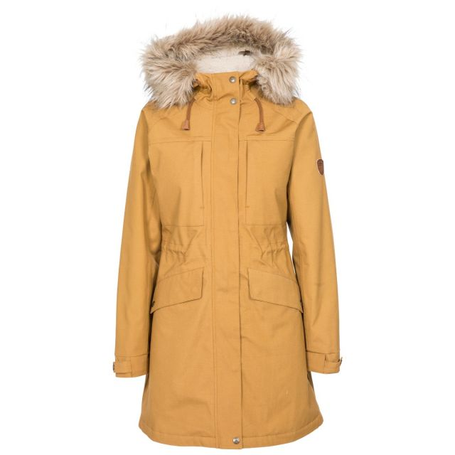 Faithful Women's Waterproof Parka Jacket in Yellow, Front view on mannequin
