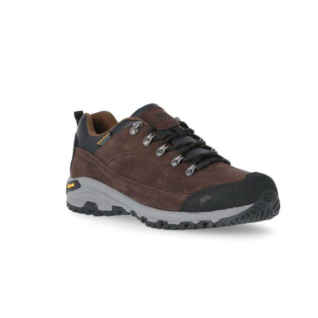 Falark Men's Vibram Walking Shoes in Brown, Angled view of footwear