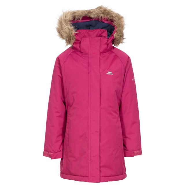 Fame Girls' Waterproof Parka Jacket in Red, Front view on mannequin