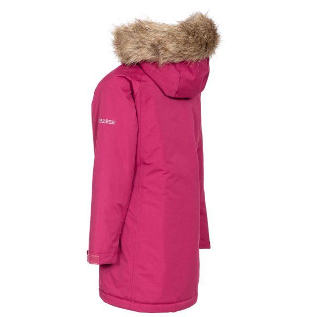 Trespass Girls Waterproof Parka Jacket in Red Fame