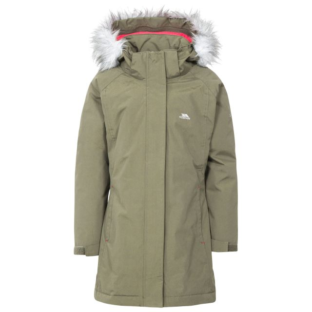 Fame Girls' Waterproof Parka Jacket in Khaki, Front view on mannequin