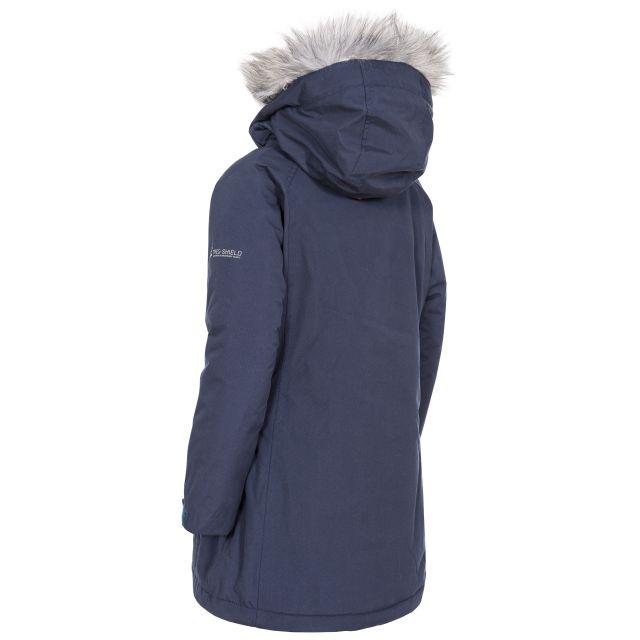 Trespass Girls Waterproof Parka Jacket in Navy Fame