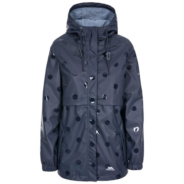 Trespass Womens Waterproof Jacket Printed Farewell Navy, Front view on mannequin