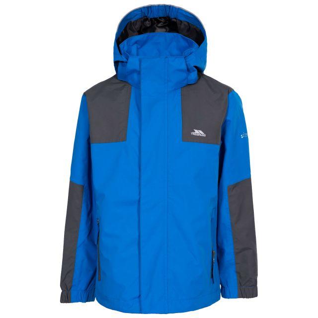 Farpost Kids' Waterproof Jacket in Blue, Front view on mannequin