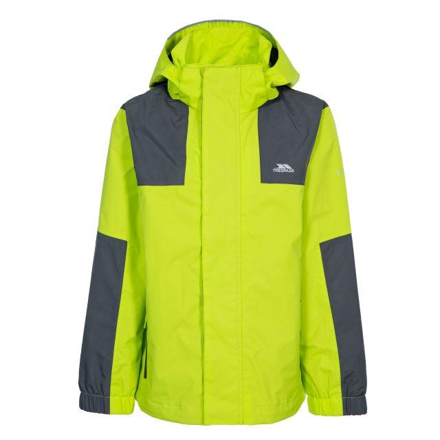 Farpost Kids' Waterproof Jacket in Green, Back view on mannequin